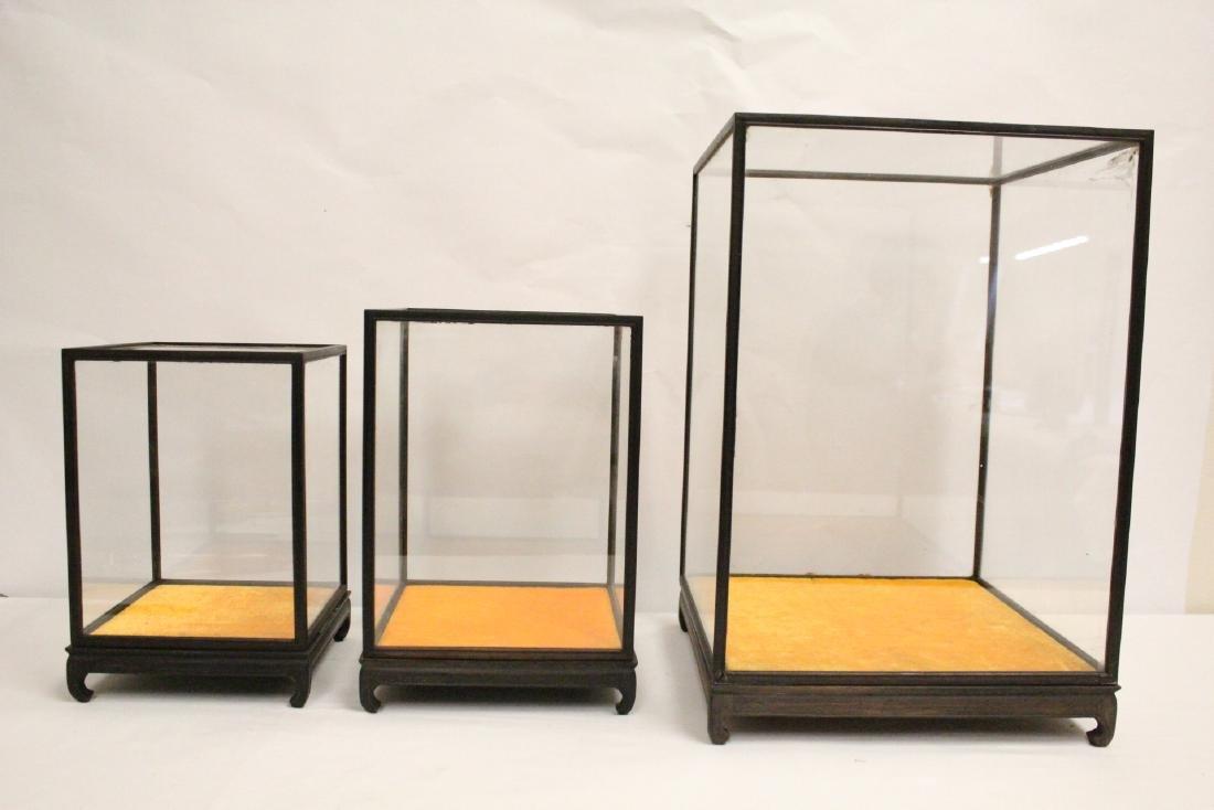 3 zitan wood framed display cubes - 9