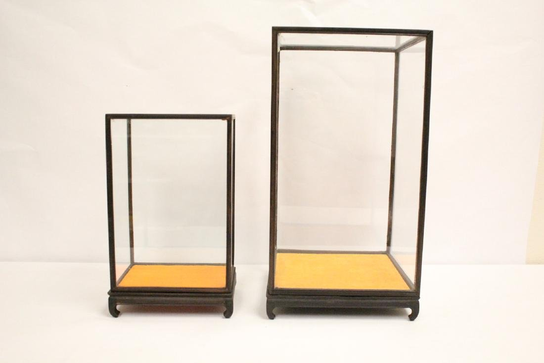 2 large zitan wood framed display cubes