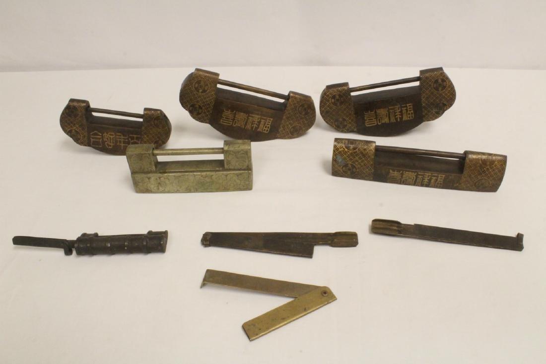 6 Chinese bronze/brass locks; 4 with inlaid