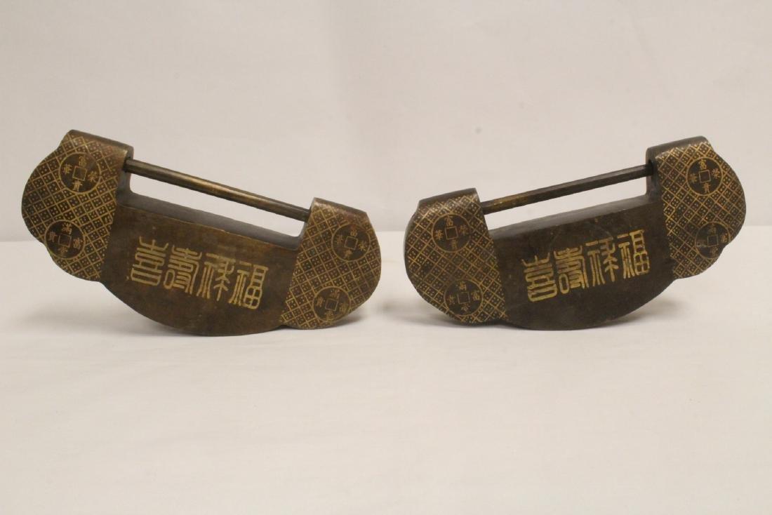 6 Chinese bronze/brass locks; 4 with inlaid - 2