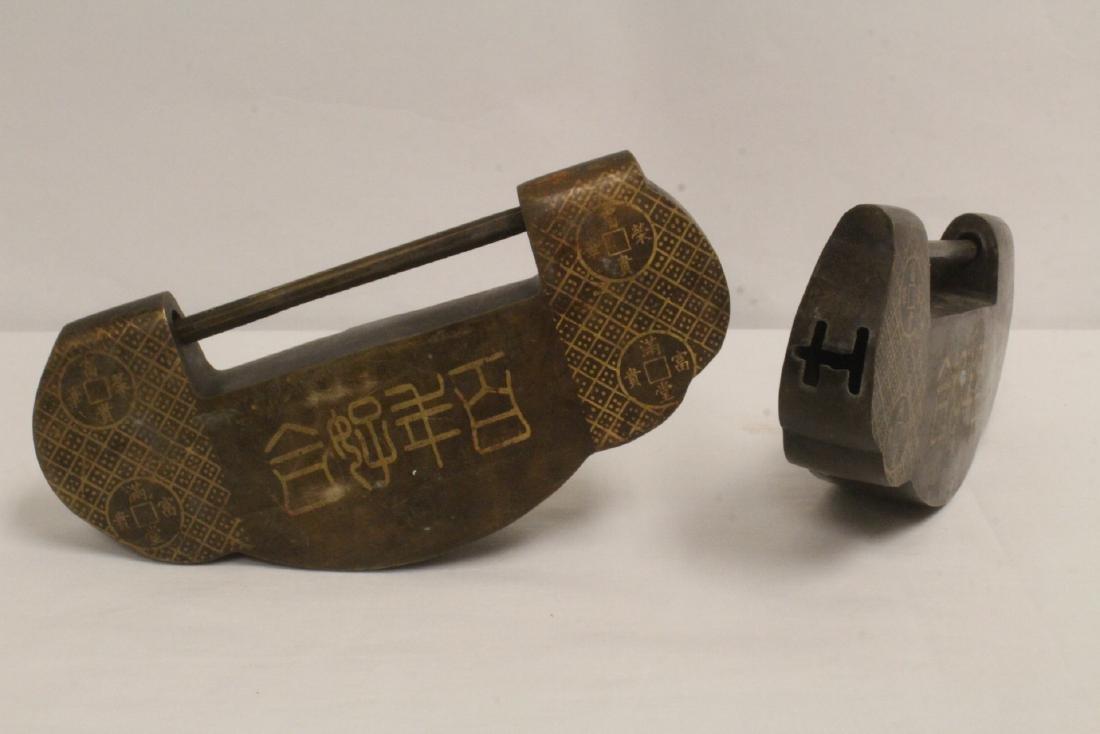 6 Chinese bronze/brass locks; 4 with inlaid - 4