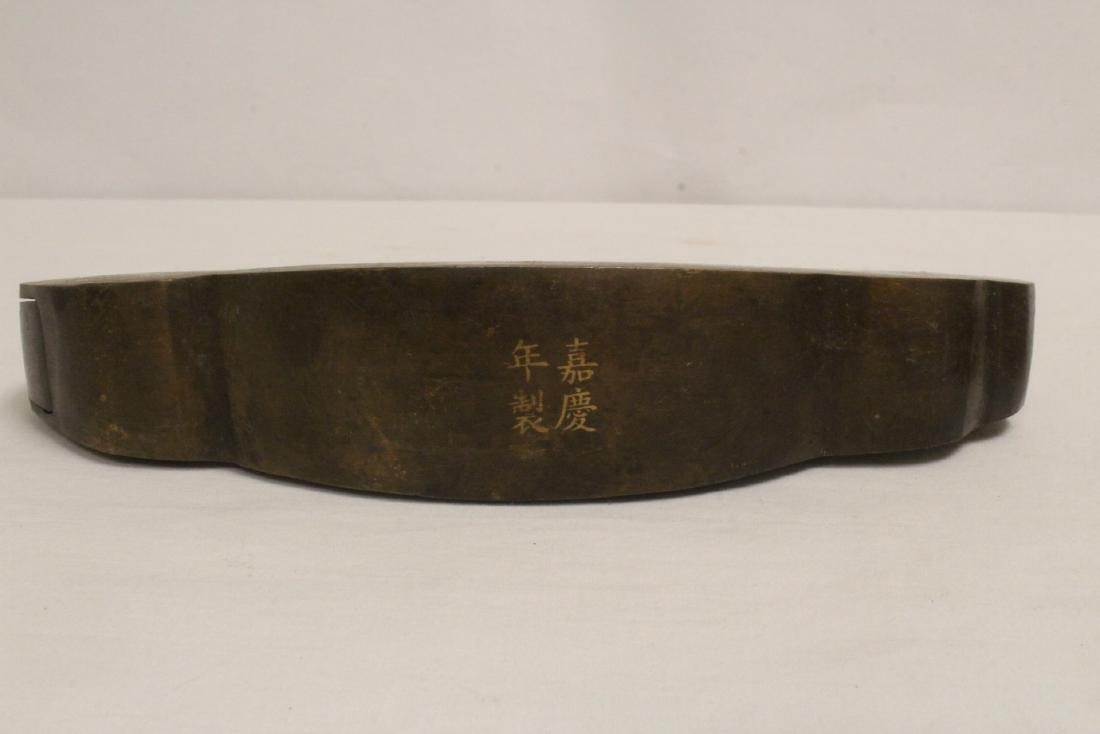 6 Chinese bronze/brass locks; 4 with inlaid - 5