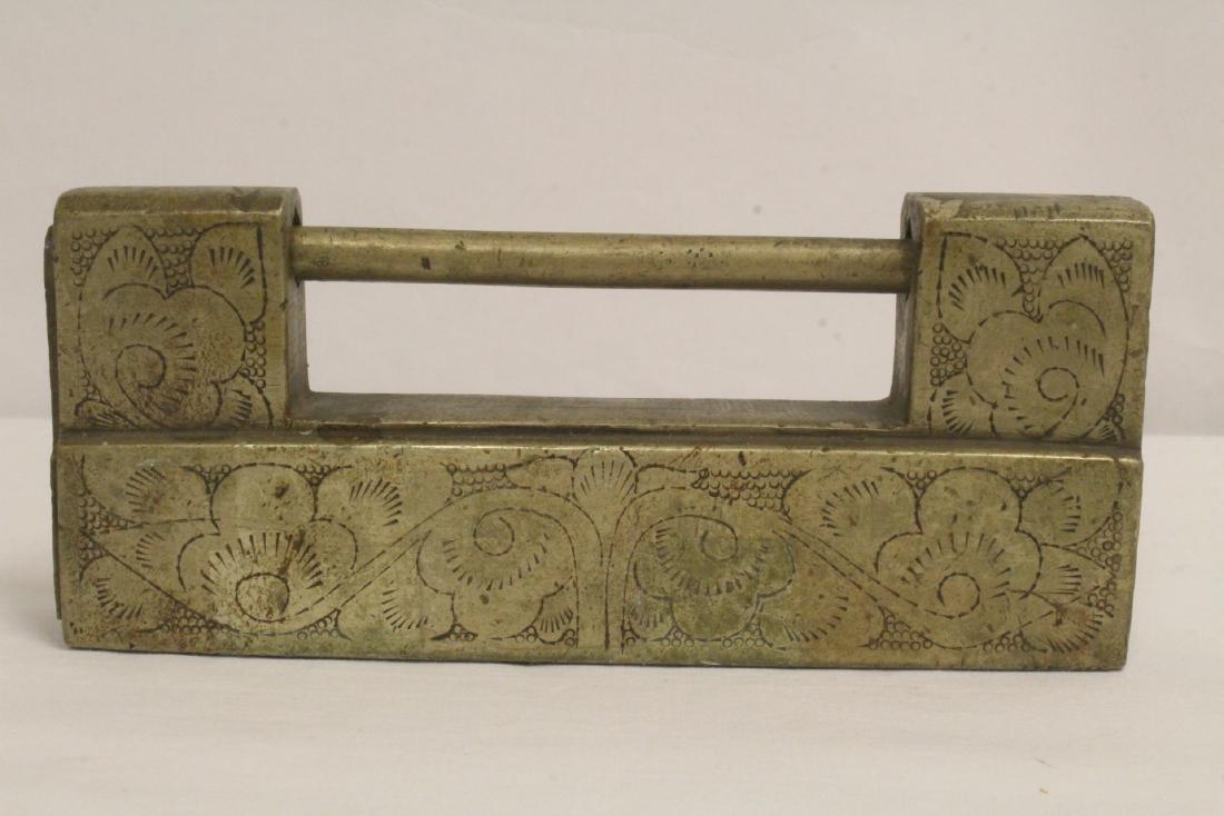 6 Chinese bronze/brass locks; 4 with inlaid - 8