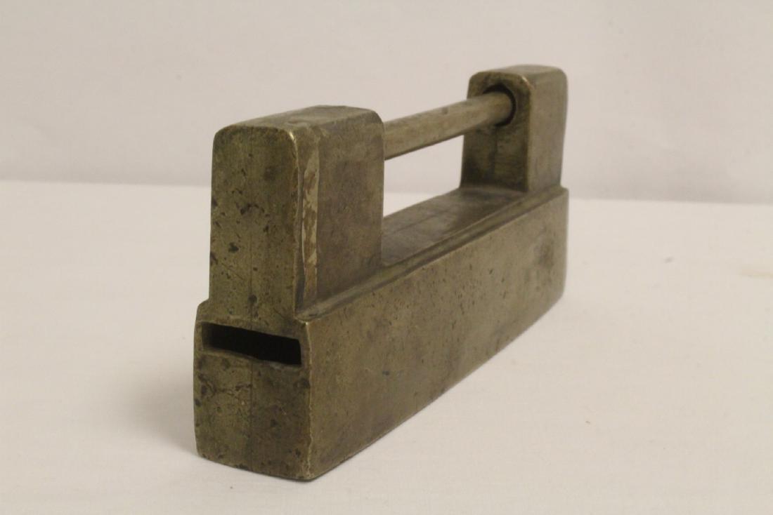 6 Chinese bronze/brass locks; 4 with inlaid - 9
