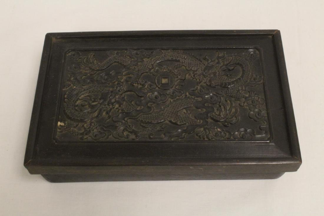 A possible zitan wood box carved with dragon on top