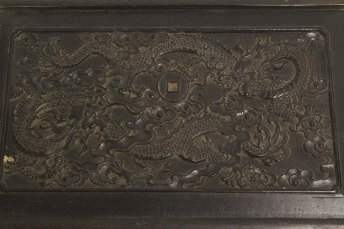 A possible zitan wood box carved with dragon on top - 2