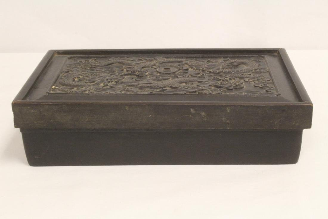 A possible zitan wood box carved with dragon on top - 3