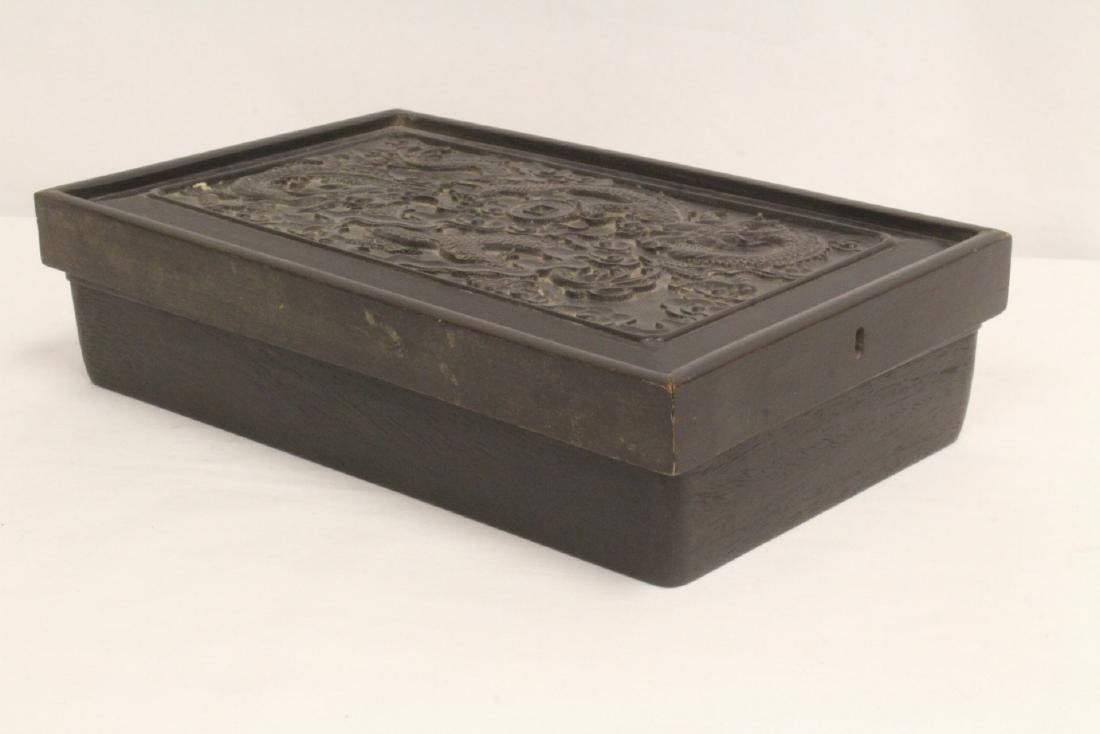 A possible zitan wood box carved with dragon on top - 4
