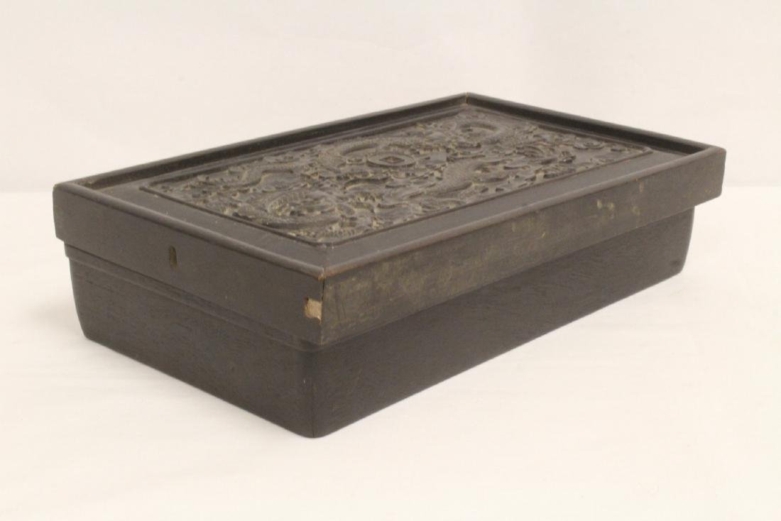 A possible zitan wood box carved with dragon on top - 5