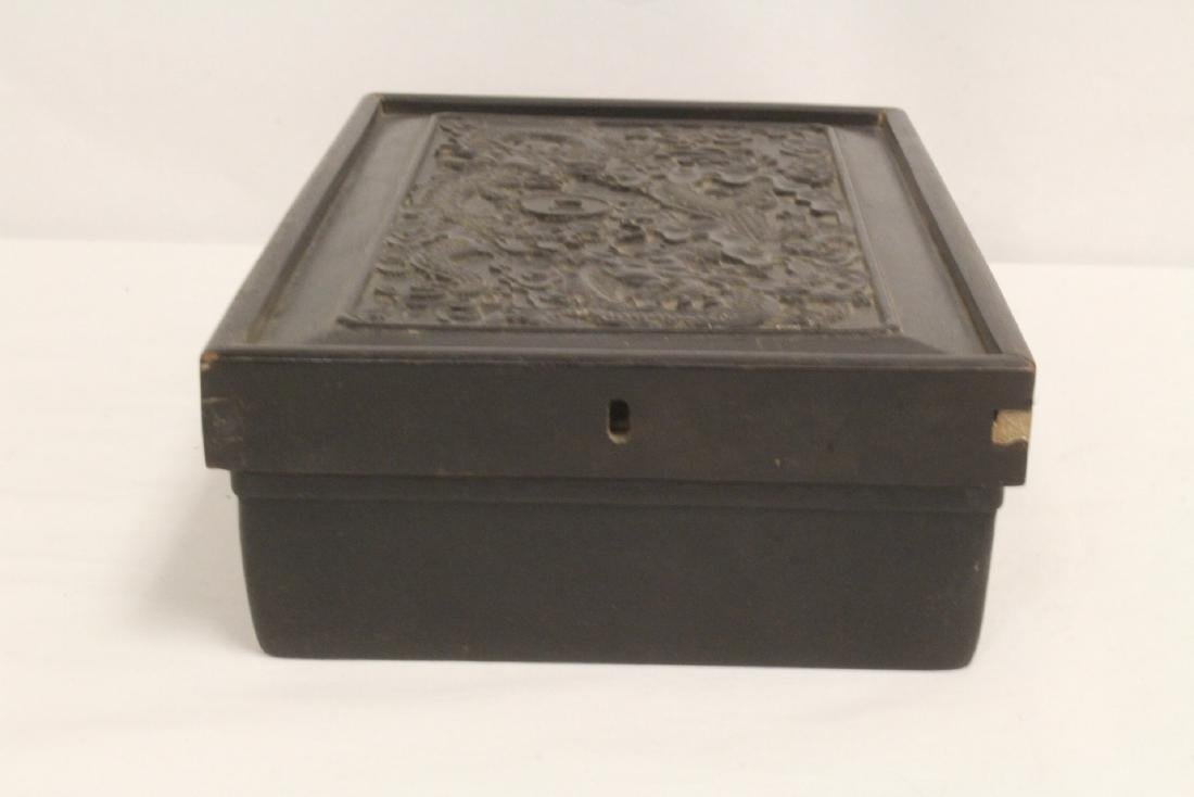 A possible zitan wood box carved with dragon on top - 6