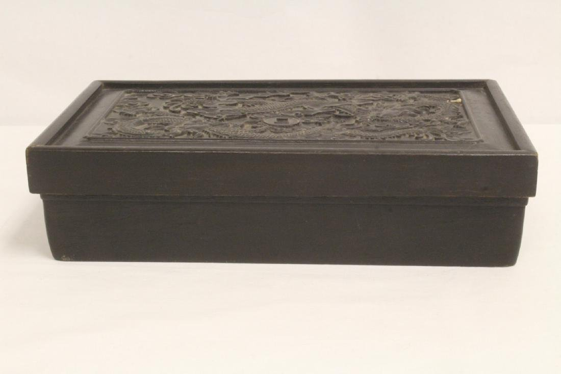 A possible zitan wood box carved with dragon on top - 7