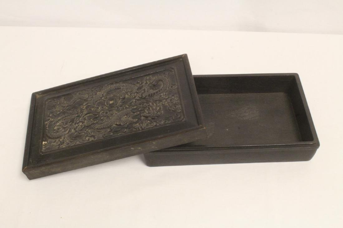 A possible zitan wood box carved with dragon on top - 8
