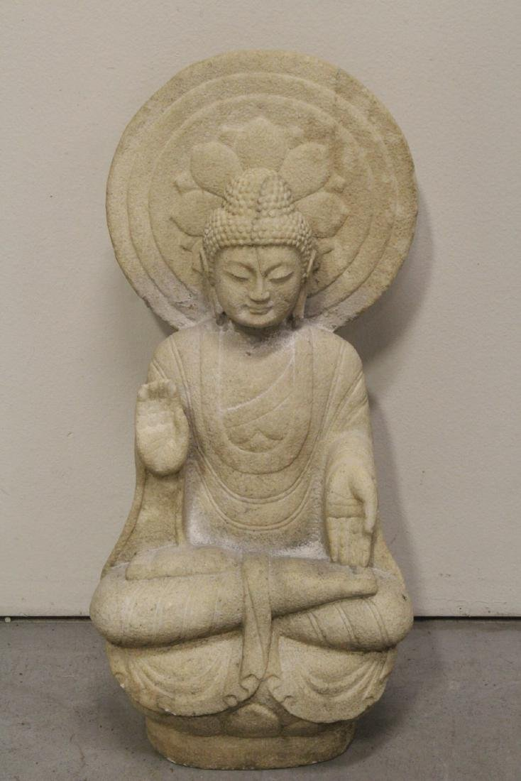 A fine Chinese marble carved seated Buddha