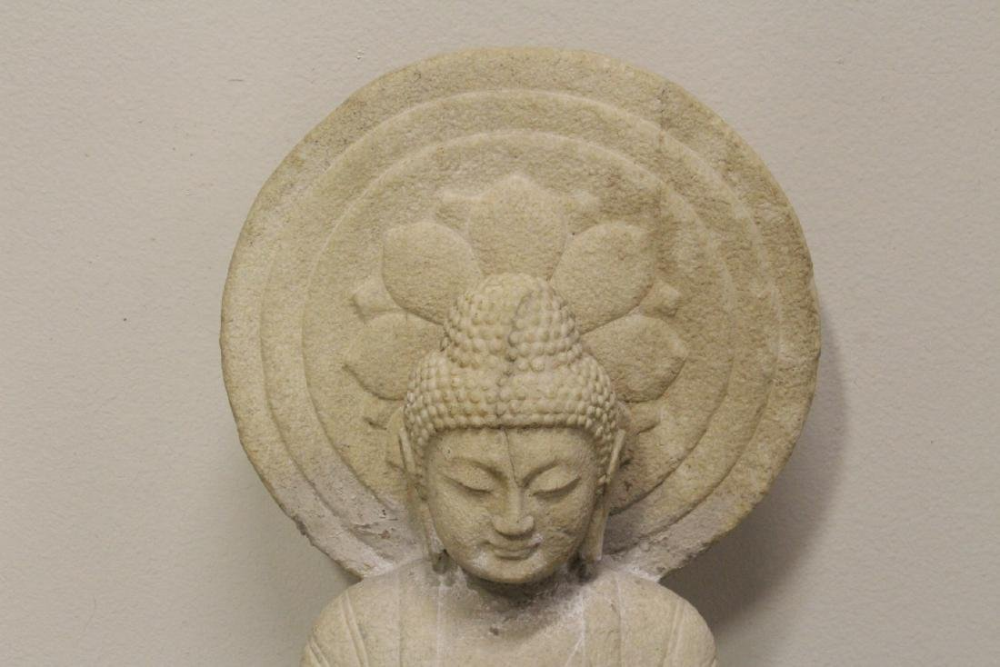 A fine Chinese marble carved seated Buddha - 2