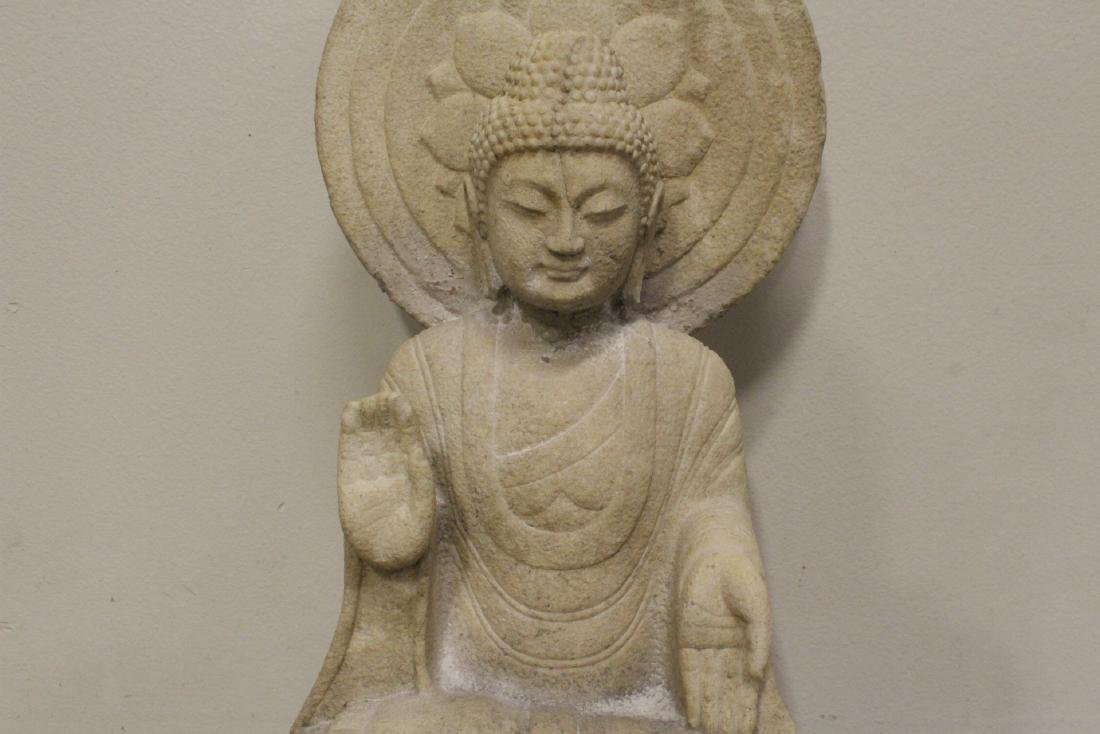 A fine Chinese marble carved seated Buddha - 4