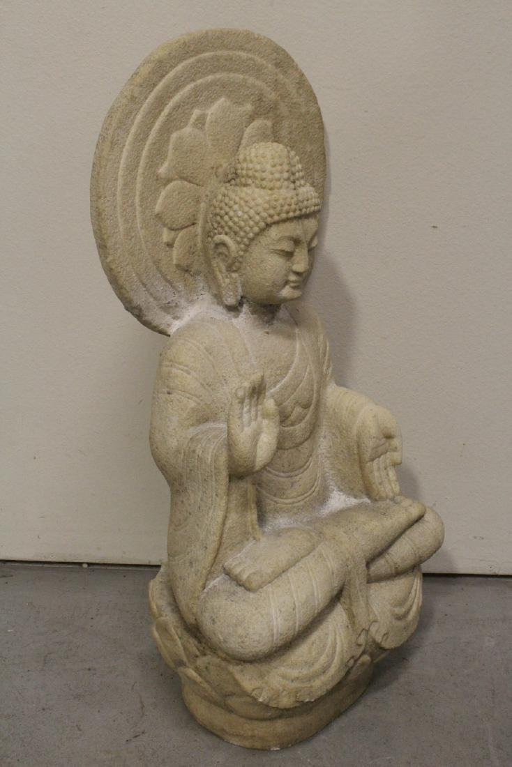 A fine Chinese marble carved seated Buddha - 7
