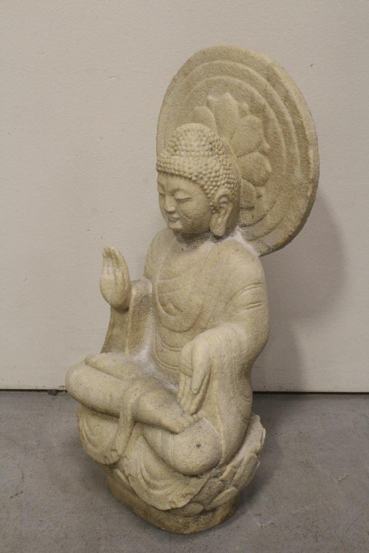 A fine Chinese marble carved seated Buddha - 8