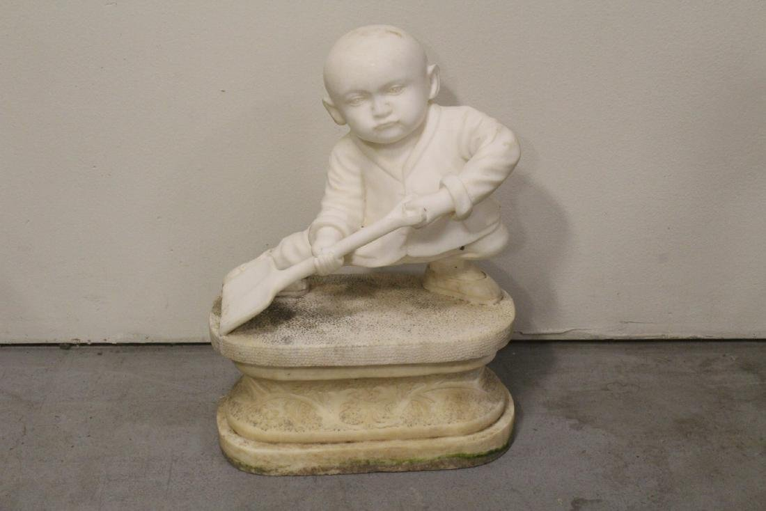 A very cute Chinese white marble carving
