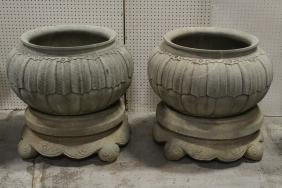 Pair Chinese 19th/20th c. stone planters with base