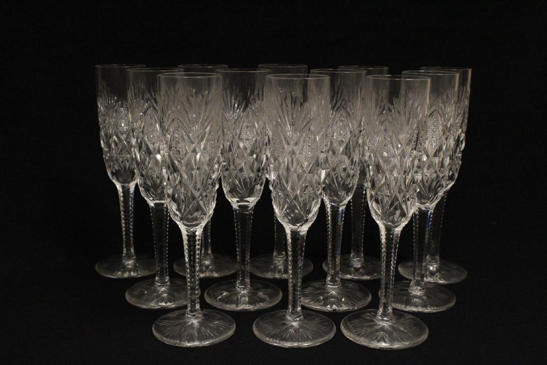 12 champagne crystal goblets by St. Louis - 2