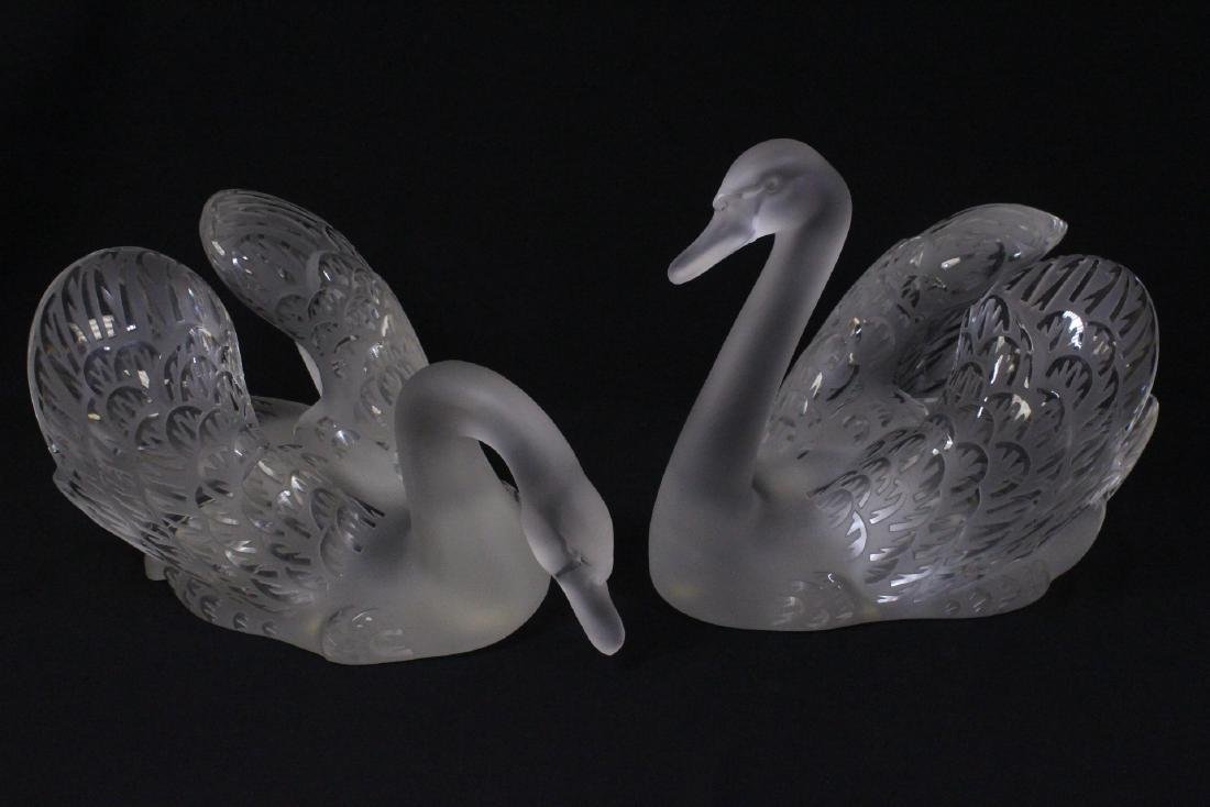Pair beautiful large crystal swan by Lalique