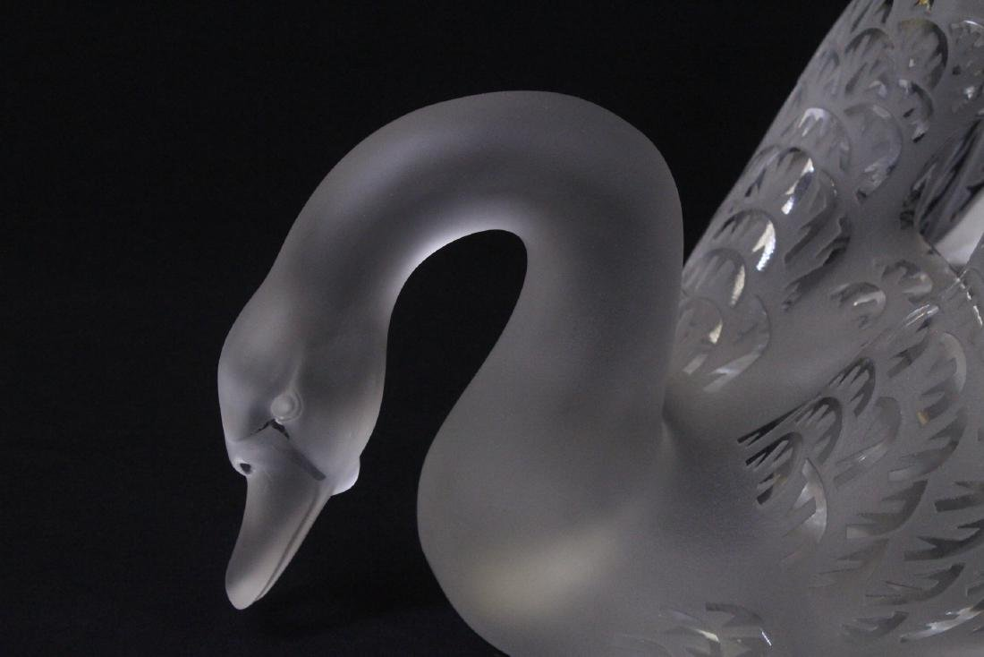 Pair beautiful large crystal swan by Lalique - 4