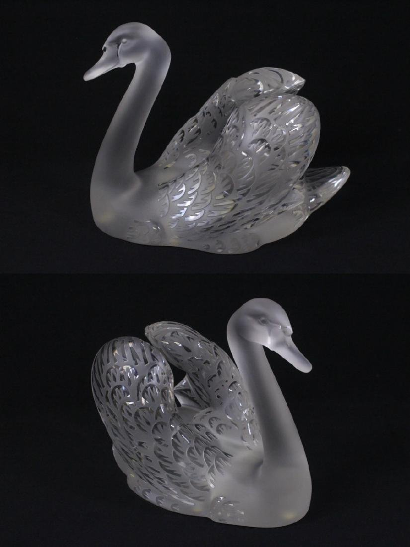 Pair beautiful large crystal swan by Lalique - 6