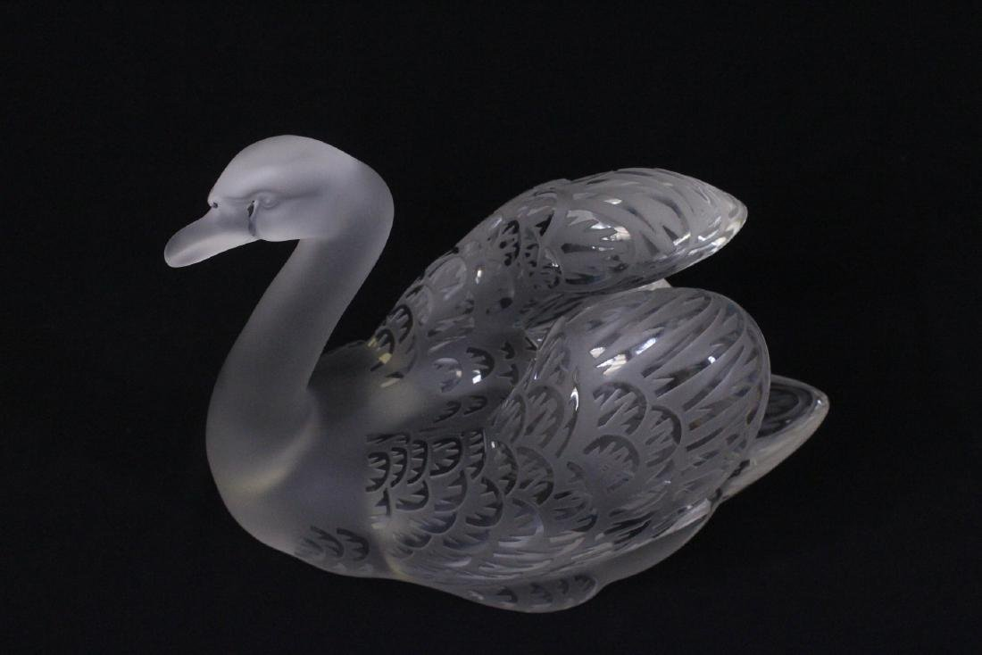 Pair beautiful large crystal swan by Lalique - 9