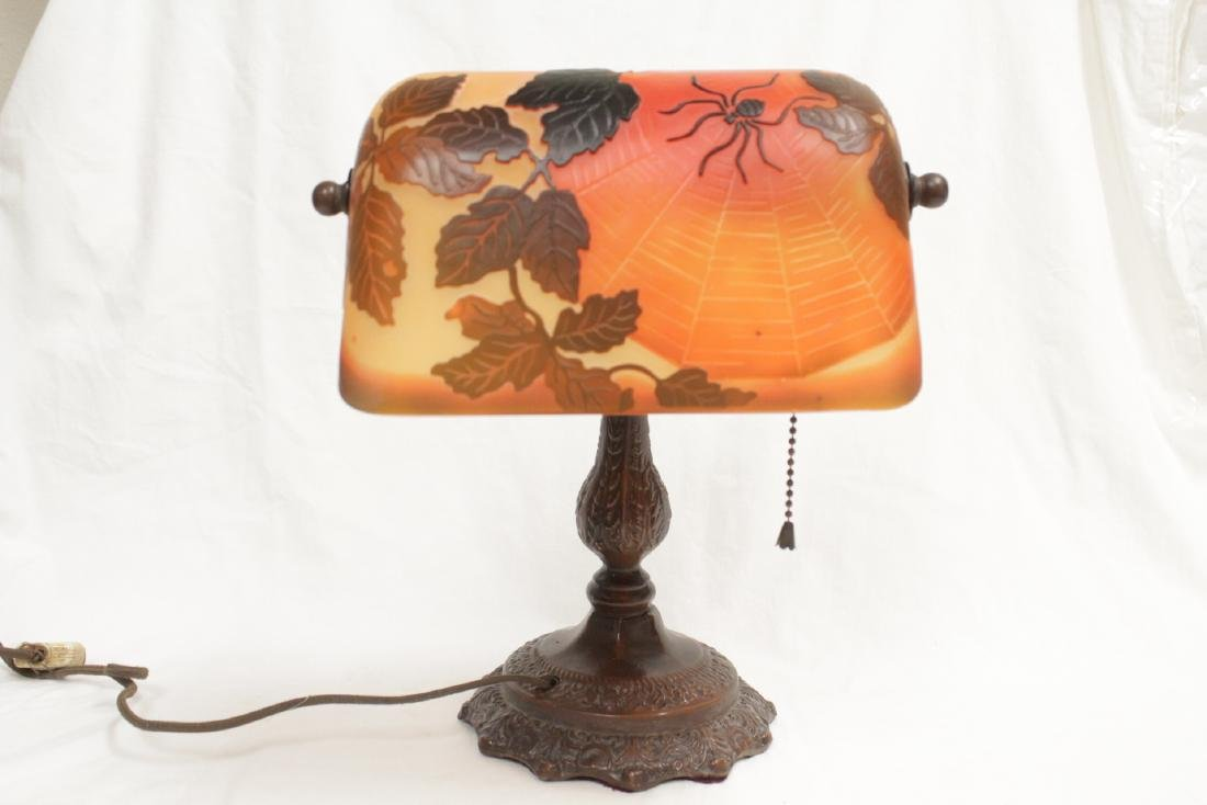 Early 20th c. lamp with shade signed Galle