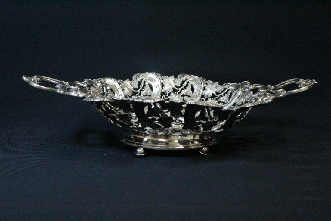 Very fancy Continental silver bread tray - 2