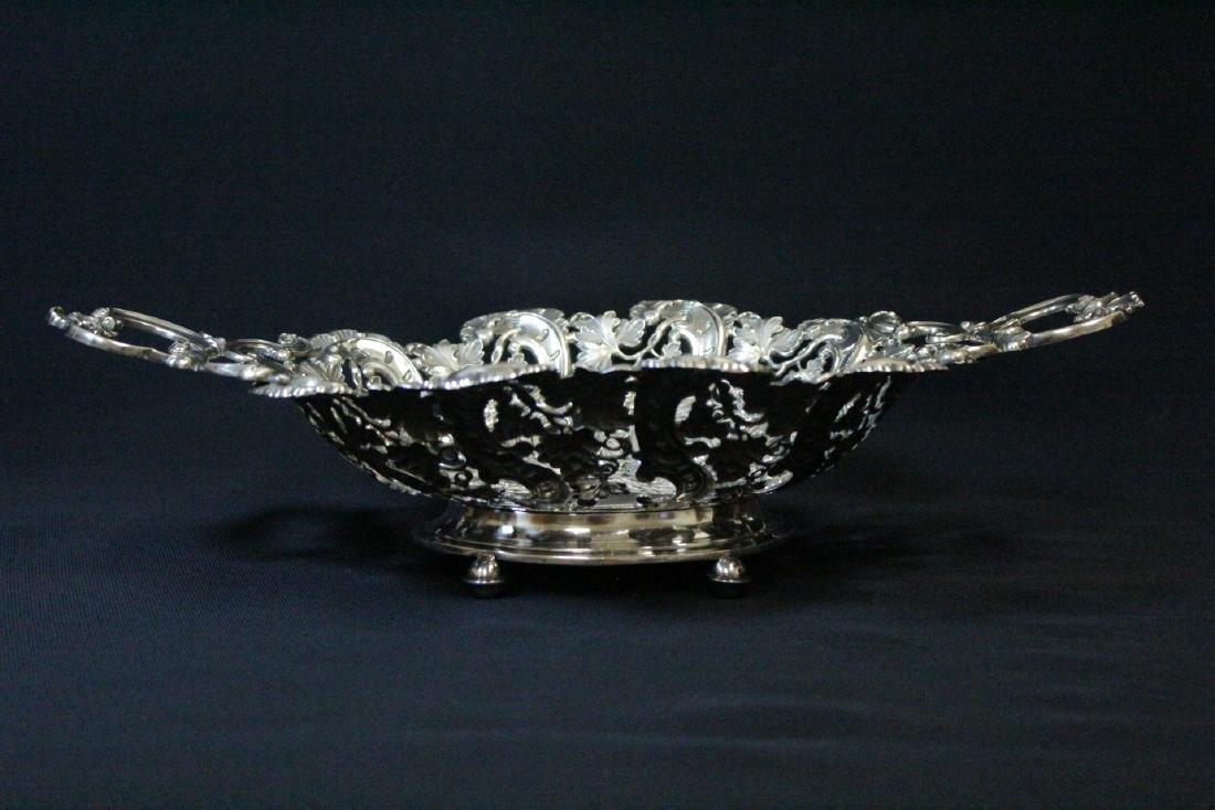 Very fancy Continental silver bread tray - 4