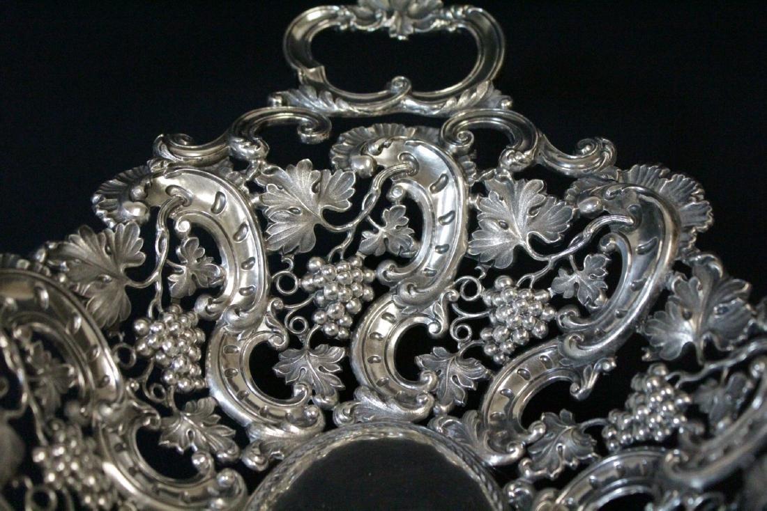 Very fancy Continental silver bread tray - 7