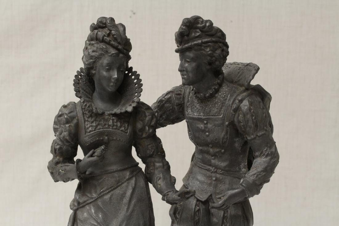 antique spelter sculpture depicting boy and girl - 2