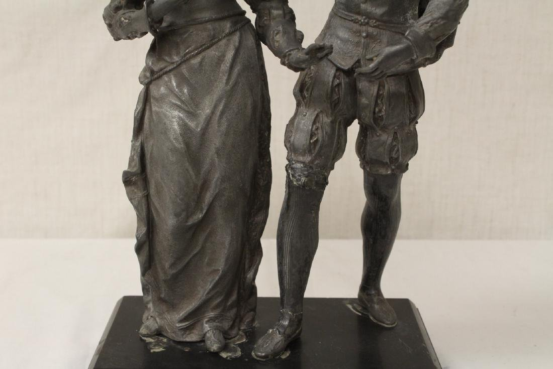 antique spelter sculpture depicting boy and girl - 3
