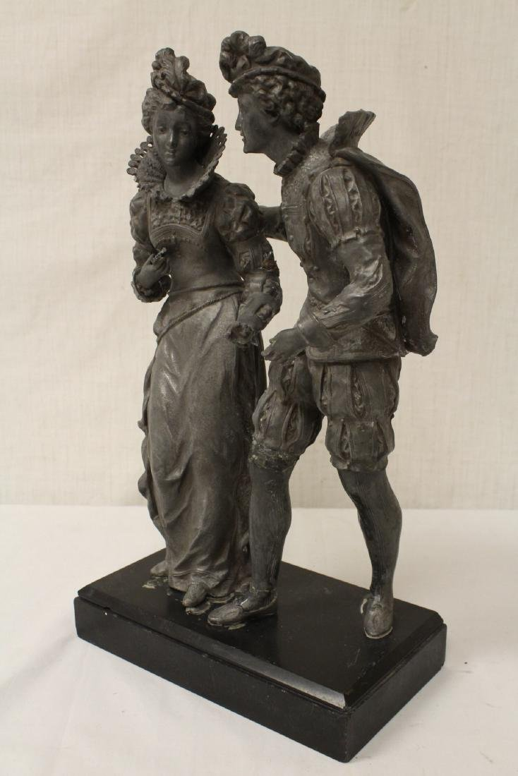 antique spelter sculpture depicting boy and girl - 6