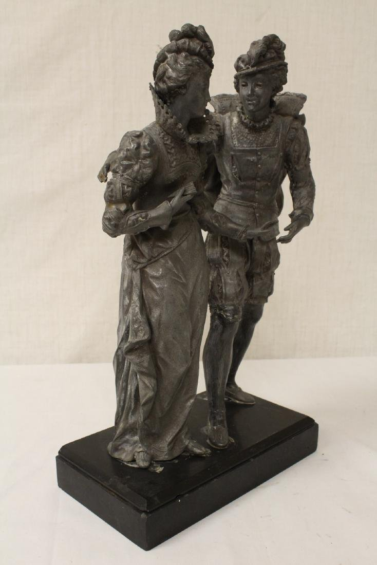 antique spelter sculpture depicting boy and girl - 7