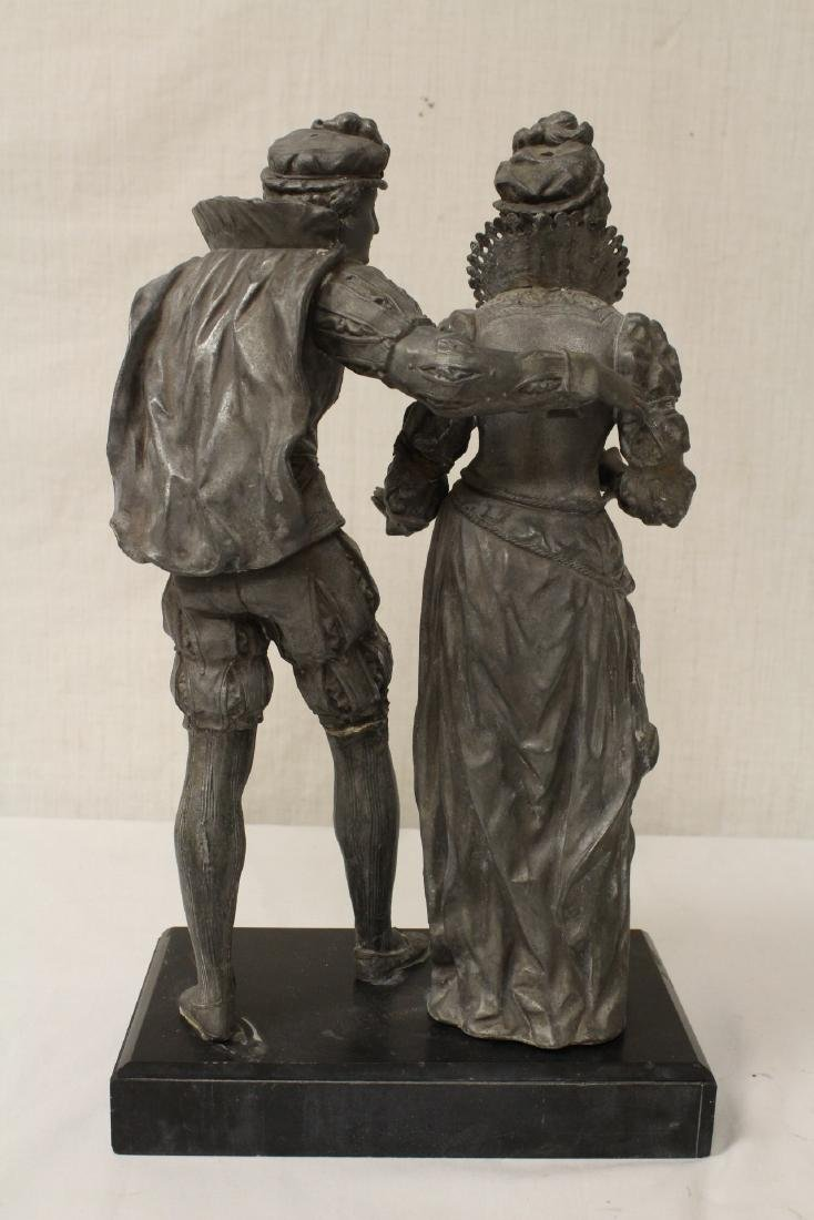 antique spelter sculpture depicting boy and girl - 9
