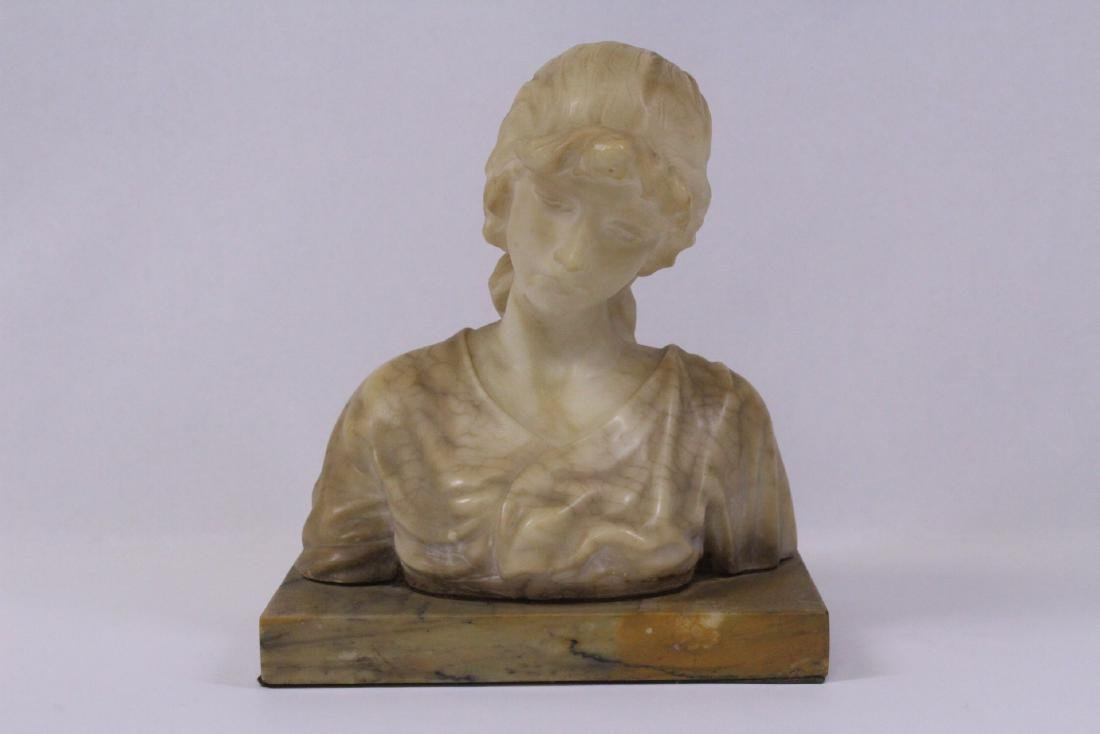 A beautiful alabaster sculpture of lady's bust