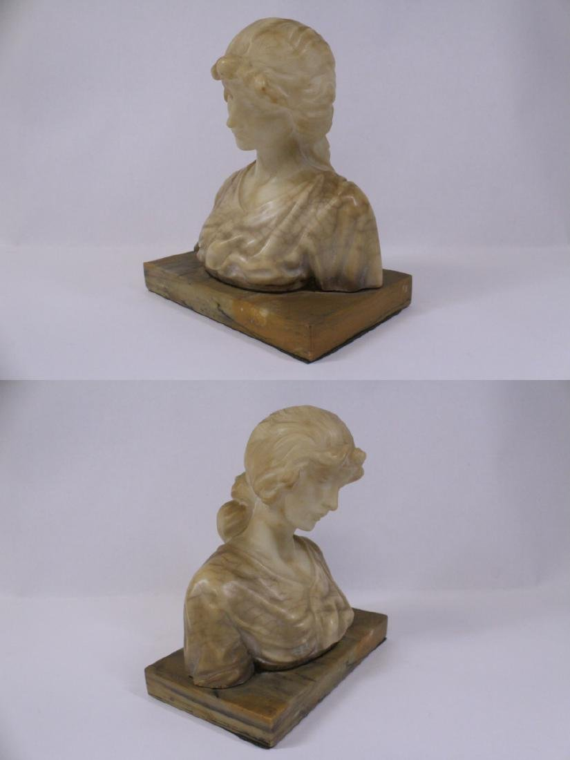 A beautiful alabaster sculpture of lady's bust - 2