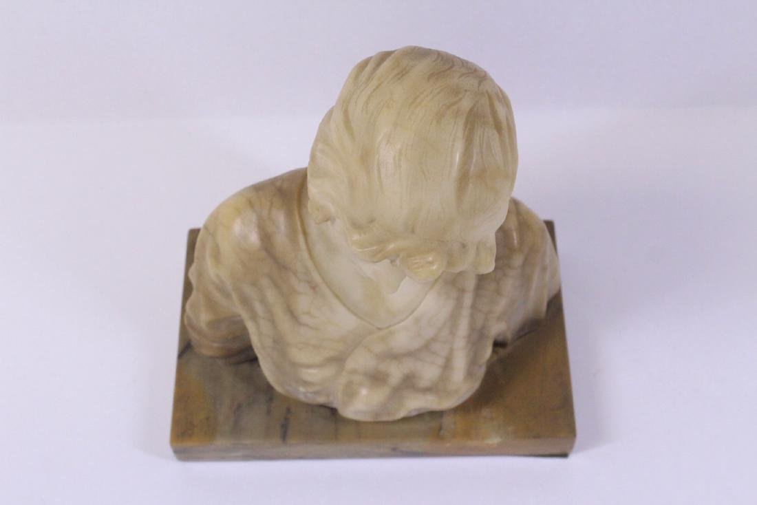 A beautiful alabaster sculpture of lady's bust - 3