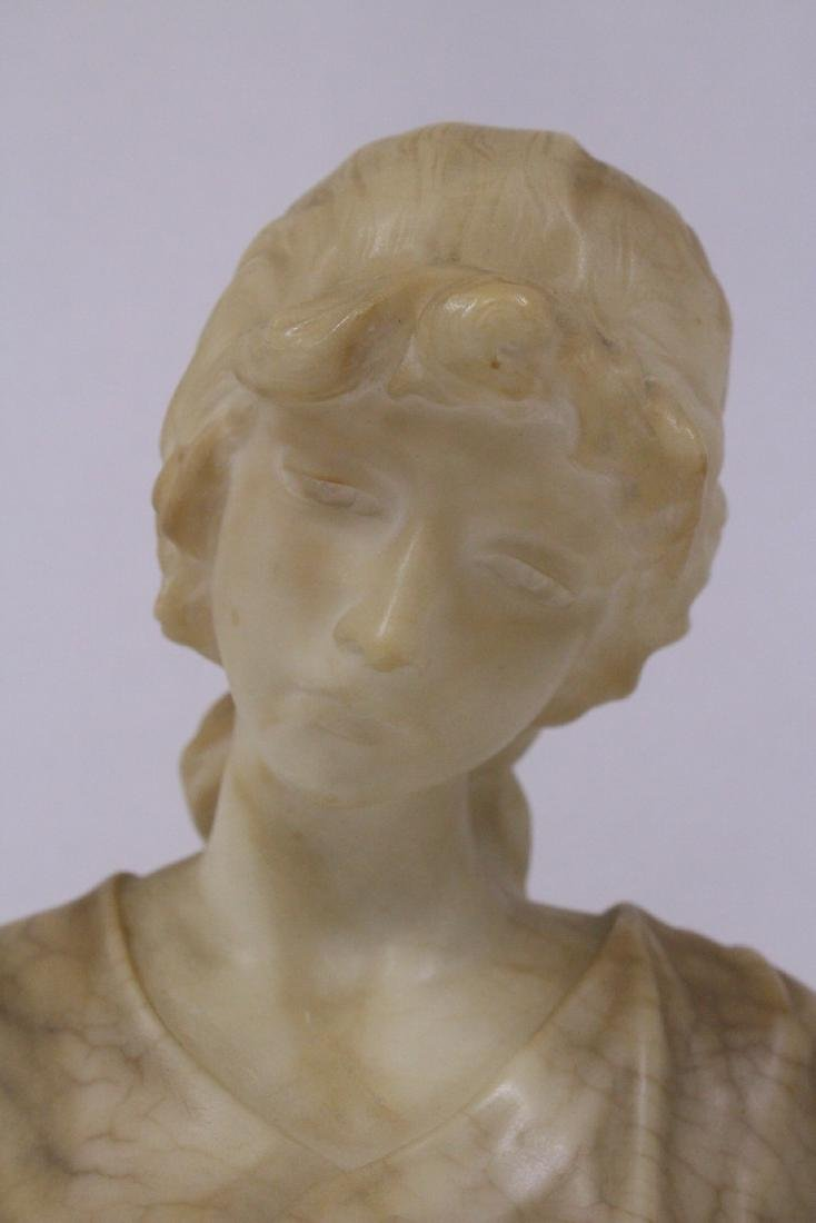 A beautiful alabaster sculpture of lady's bust - 4