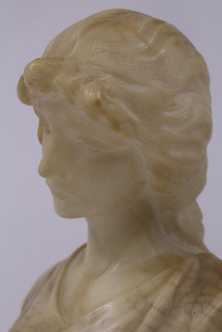 A beautiful alabaster sculpture of lady's bust - 7