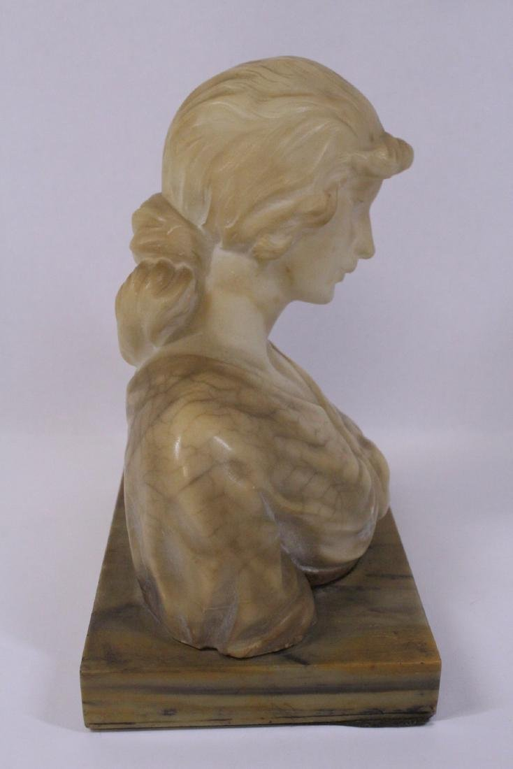 A beautiful alabaster sculpture of lady's bust - 8
