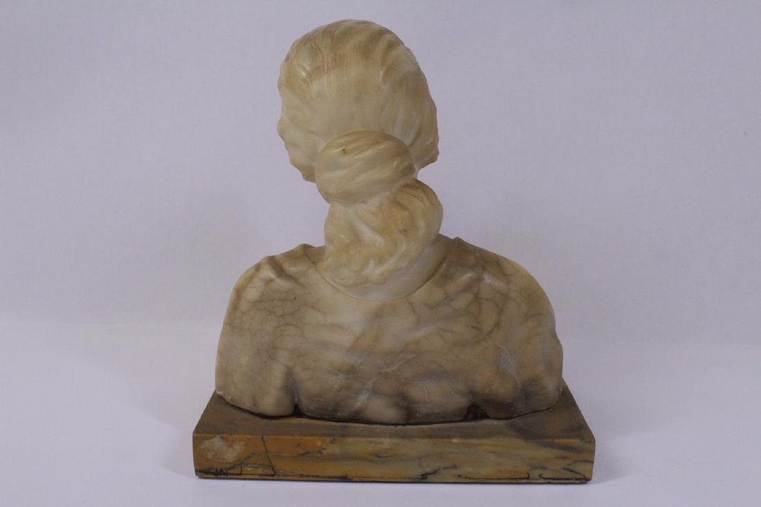 A beautiful alabaster sculpture of lady's bust - 9