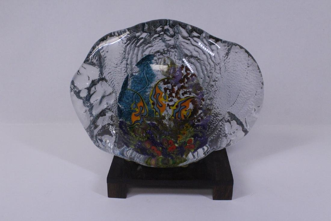 Murano glass boulder decorated with fish inside