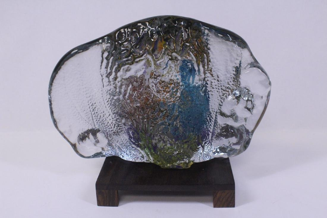 Murano glass boulder decorated with fish inside - 7