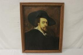 An antique oil on canvas painting