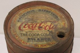 early Coca Cola wood barrel with original label