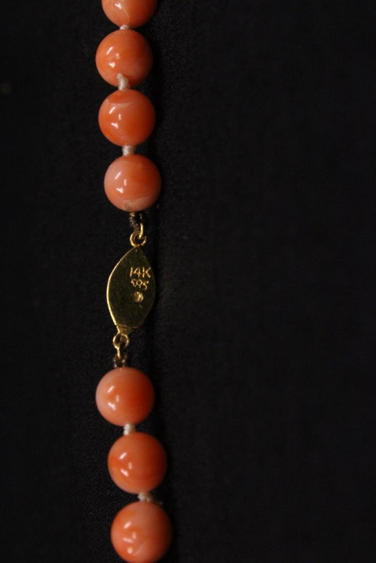 coral necklace w/ jadeite link, pearl & gold beads - 10