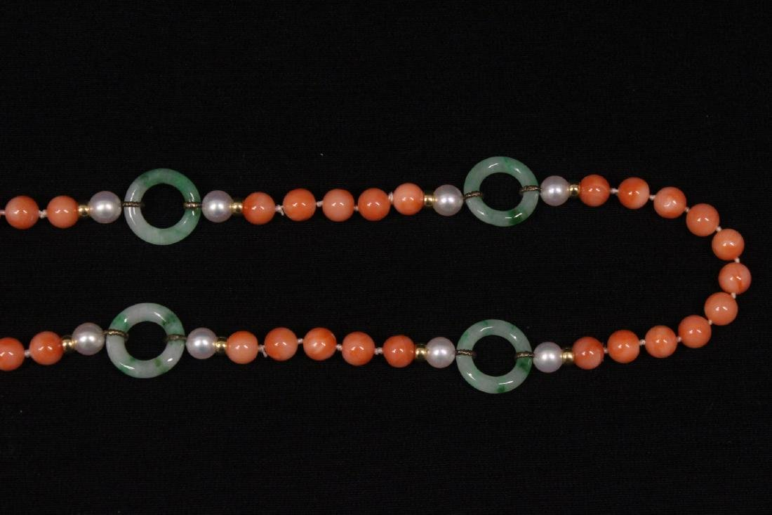 coral necklace w/ jadeite link, pearl & gold beads - 3